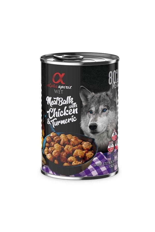 Alpha Spirit Mięsne Klopsiki z Kurczakiem i Kurkumą 400 g