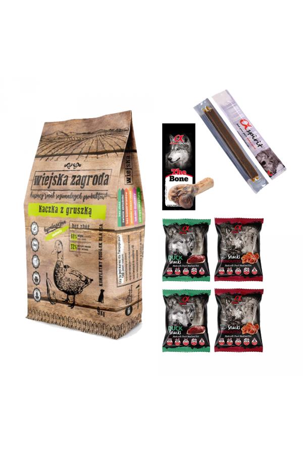 Pakiet Wiejska Zagroda Kaczka z Gruszką 9 kg + 7 Przysmaków GRATIS!