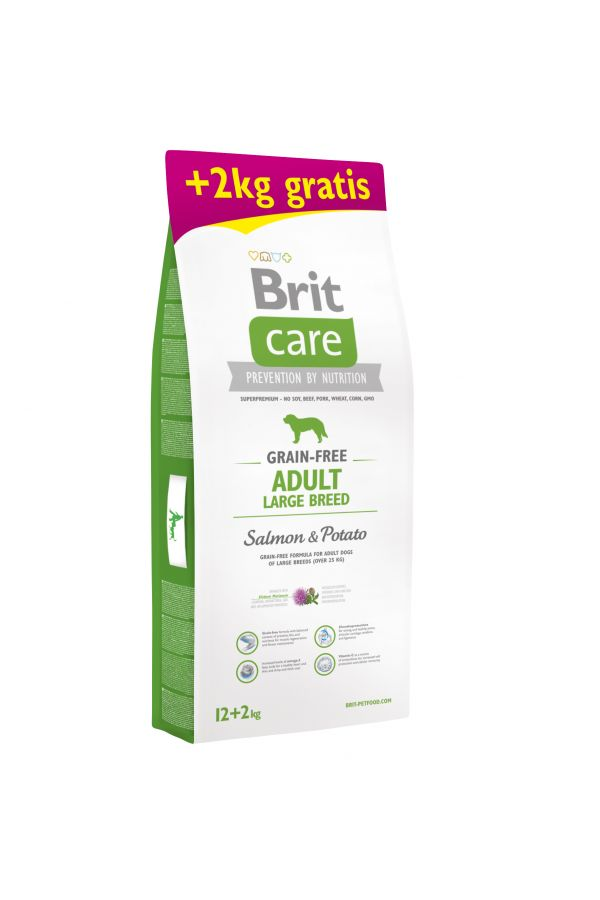Brit Care Grain-Free Bezzbożowa Salmon & Potato Łosoś Adult Large Breed 12+2kg