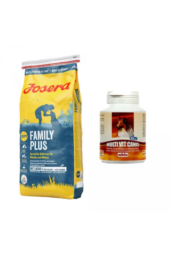 Pakiet Josera Family Plus 15 KG + MultiVit Canis 150 tabletek GRATIS!