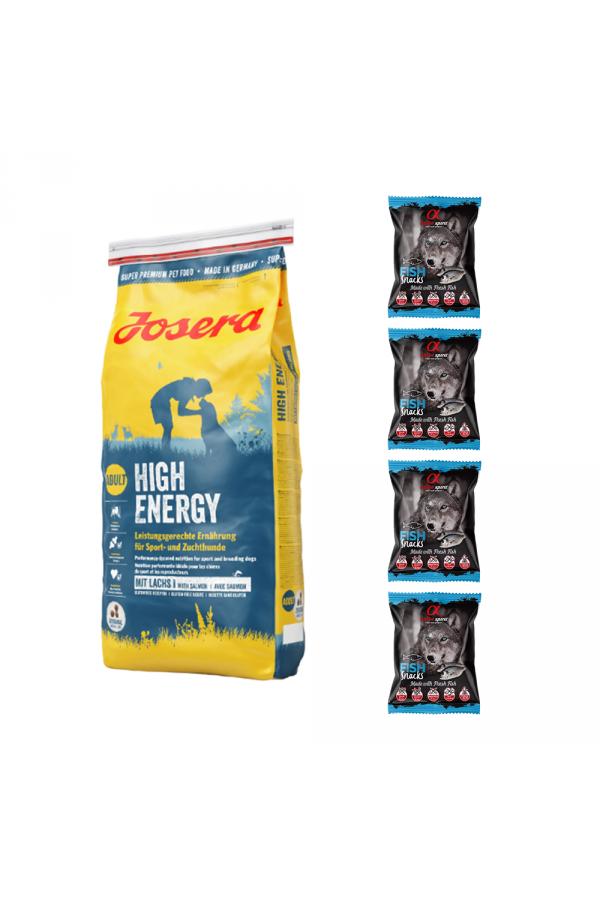 Pakiet Josera High Energy Łosoś Psy Sportowe Hodowlane 15 kg + 4 Przysmaki Alpha Spirit dla Psa z Rybą 50 G GRATIS!