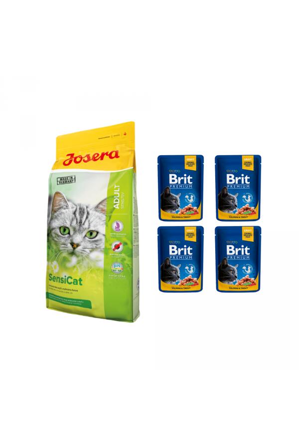 Pakiet Josera SensiCat 10 kg + 4 saszetki Brit Cat Łosoś z Pstrągiem 100 g GRATIS!