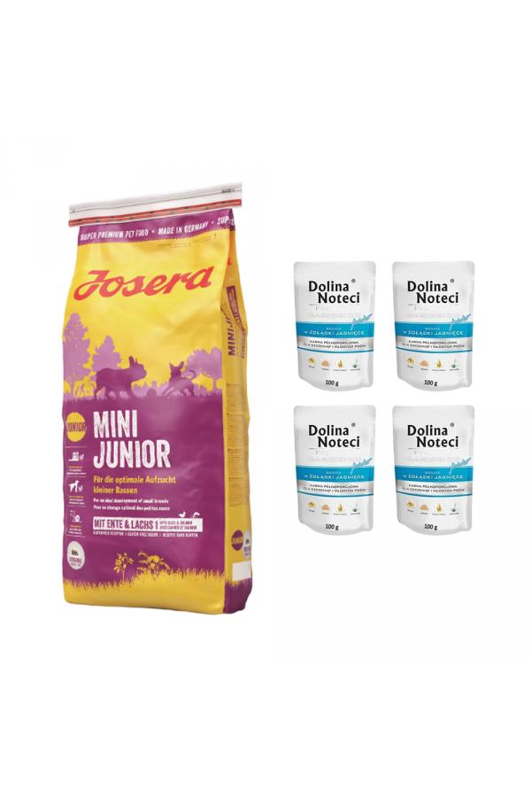 Pakiet Josera MiniJunior 15 KG + 4 saszetki Doliny Noteci Junior dla Małych Ras z Żołądkami Jagnięcymi 100G GRATIS!