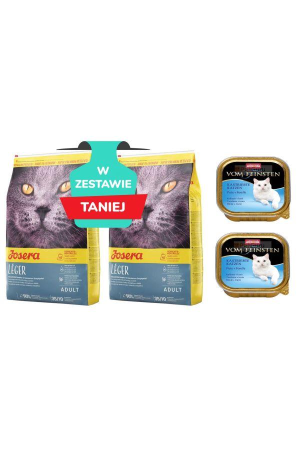 Pakiet Josera Leger Dla kotów z nadwagą i po kastracji 2x10Kg + 2 szalki Animonda GRATIS!