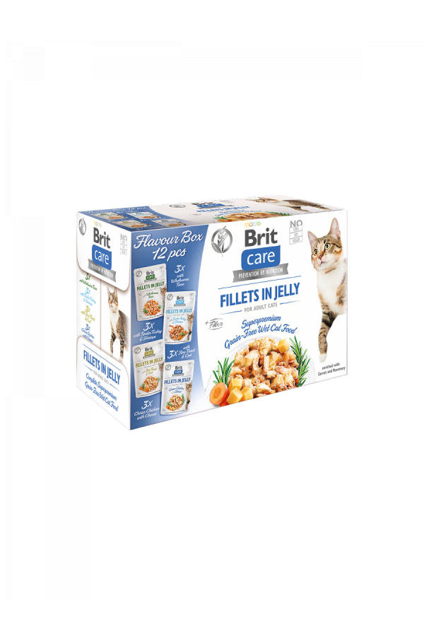 Brit Care Cat Fillets in Jelly Flavour Box Fileciki w Galaretce Mix Smaków 12x85 g