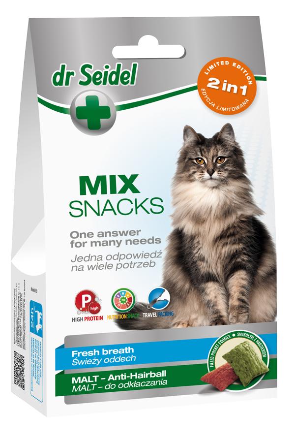 Dr Seidel Smakołyki Mix 2w1 Świeży Oddech & Malt Odkłaczanie dla Kota 60 g