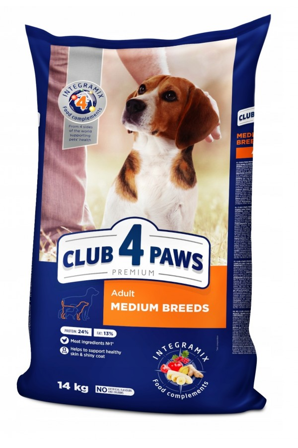 Club 4 Paws dla Dorosłych Psów Średnich Ras 14 kg