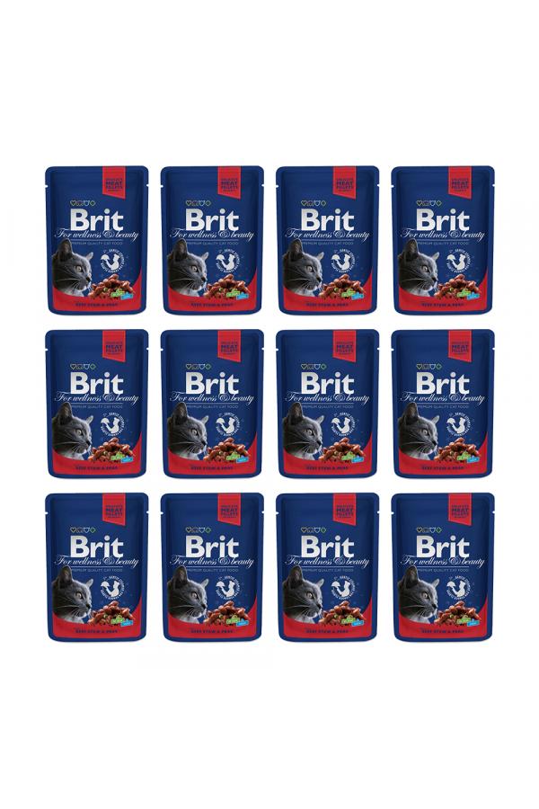 Pakiet Brit Premium Beef Stew & Peas Gulasz Wołowy Groszek  12 x 100 g