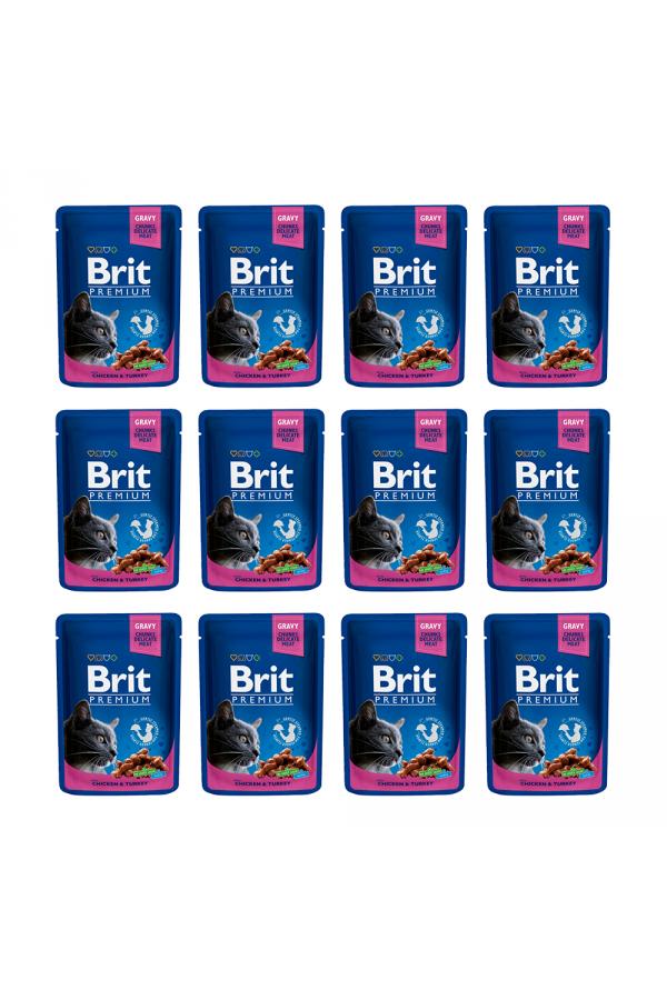 Pakiet Brit Premium Chicken & Turkey Kurczak Indyk 12 x 100 g