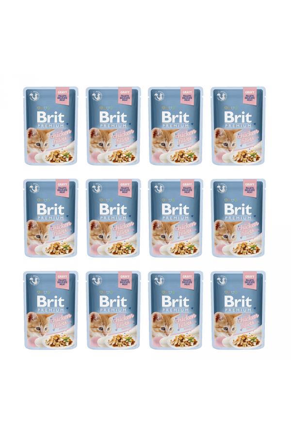 Pakiet Brit Premium Chicken Fillets Kurczak Kitten 12 x 85 g