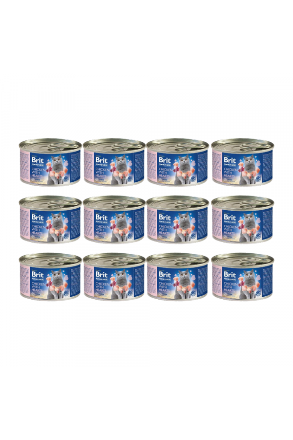 Pakiet Brit Premium by Nature Cat Chicken with Hearts Kurczak Serca 12 x 200 g