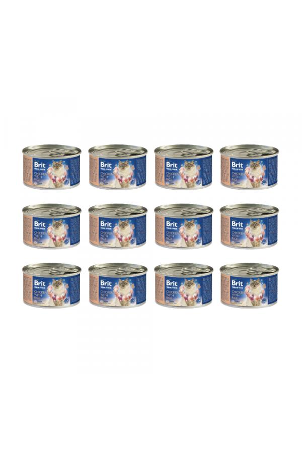 Pakiet Brit Premium by Nature Cat Chicken with Rice Kurczak Ryż 12 x 200 g