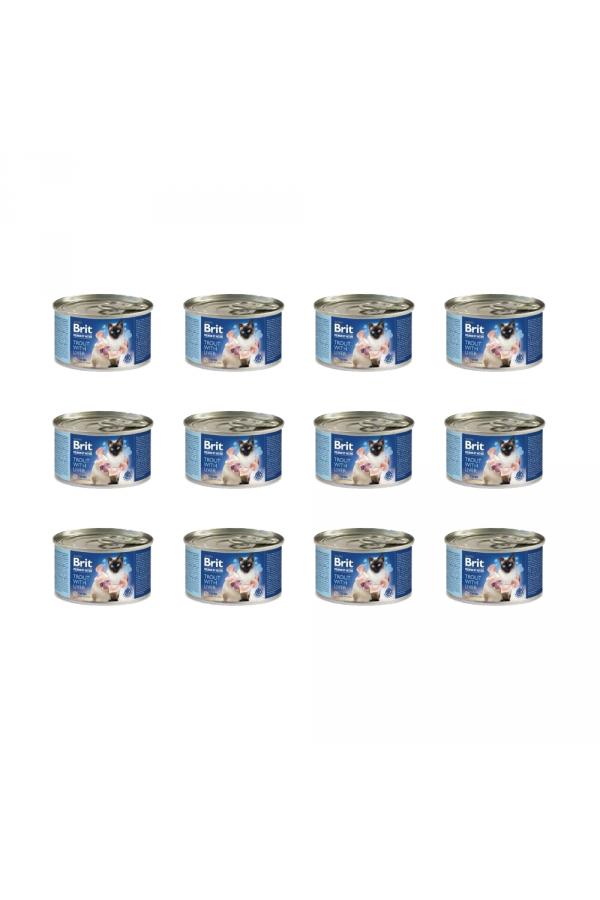 Pakiet Brit Premium by Nature Cat Trout with Liver Pstrąg Wątróbka 12 x 200 g