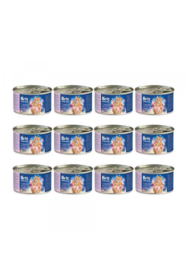 Pakiet Brit Premium by Nature Cat Turkey with Liver Indyk Wątróbka 12 x 200 g
