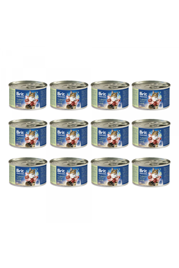 Pakiet Brit Premium by Nature Cat Turkey with Lamb Indyk Jagnięcina 12 x 200 g