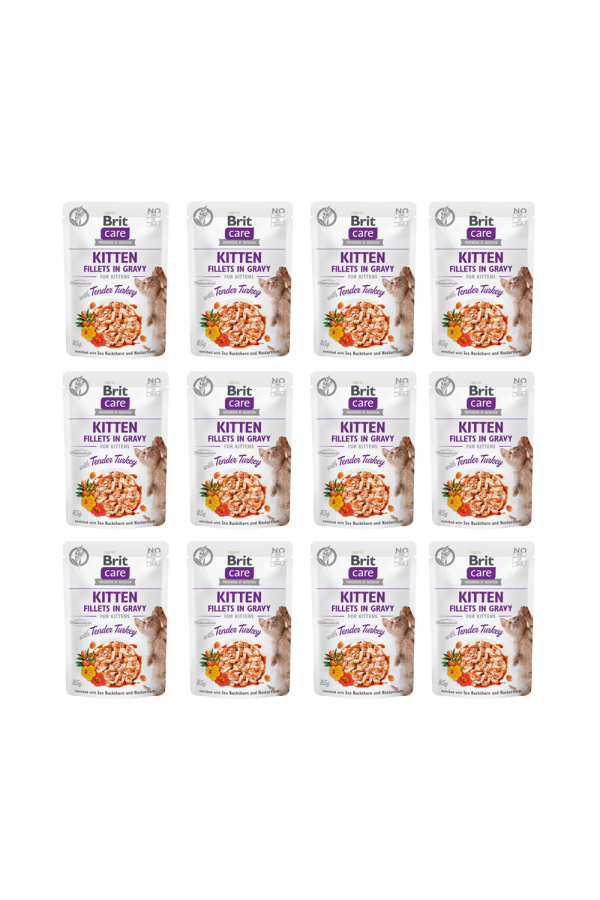Pakiet Brit Care Cat Fillets in Gravy Tender Turkey Kitten Fileciki z Indyka w Sosie 12 x 85 g