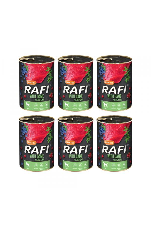 Pakiet Rafi Karma Dla Psa z Dziczyzną, Borówką i Żurawiną  6 x 800 G