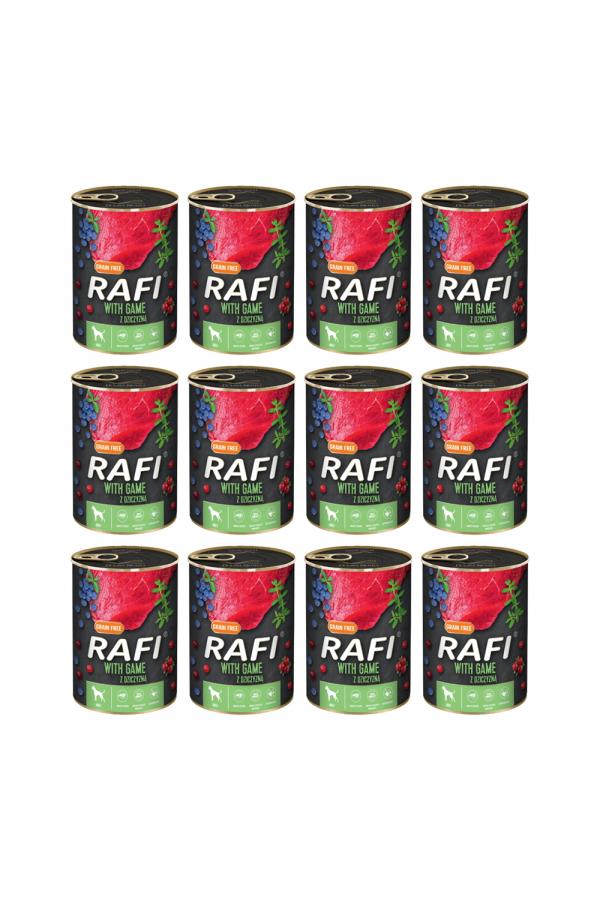 Pakiet Rafi Karma Dla Psa z Dziczyzną, Borówką i Żurawiną 12 x 800 G
