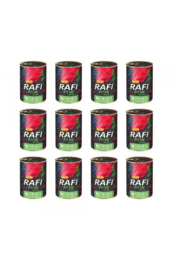 Pakiet Rafi Karma Dla Psa Z Dziczyzną, Borówką i Żurawiną 12 x 400 G