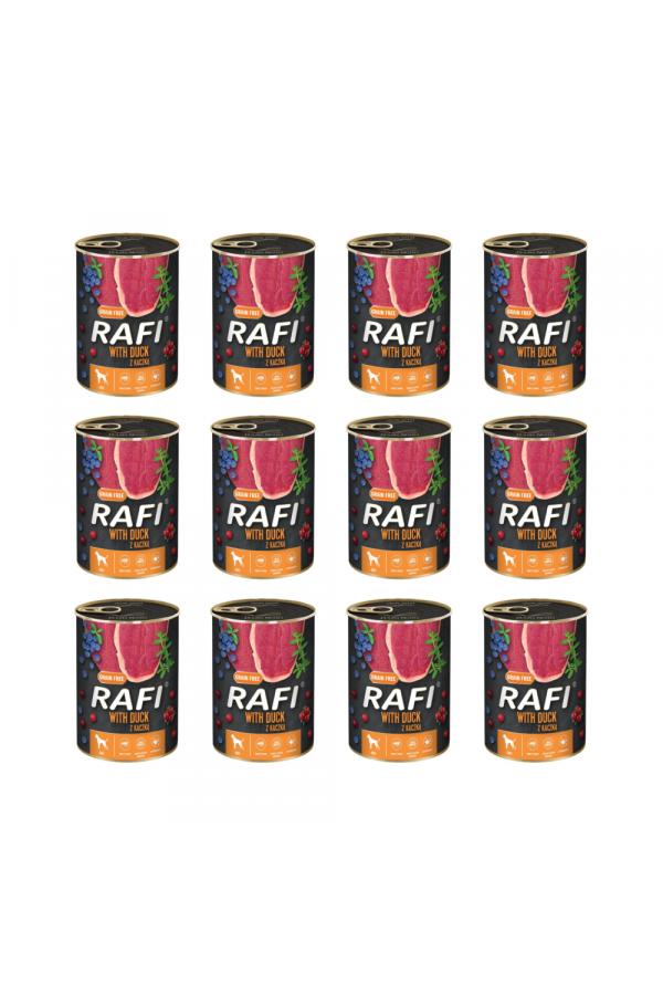 Pakiet Rafi Karma Dla Psa z Kaczką, Borówką i Żurawiną 12 x 800 G