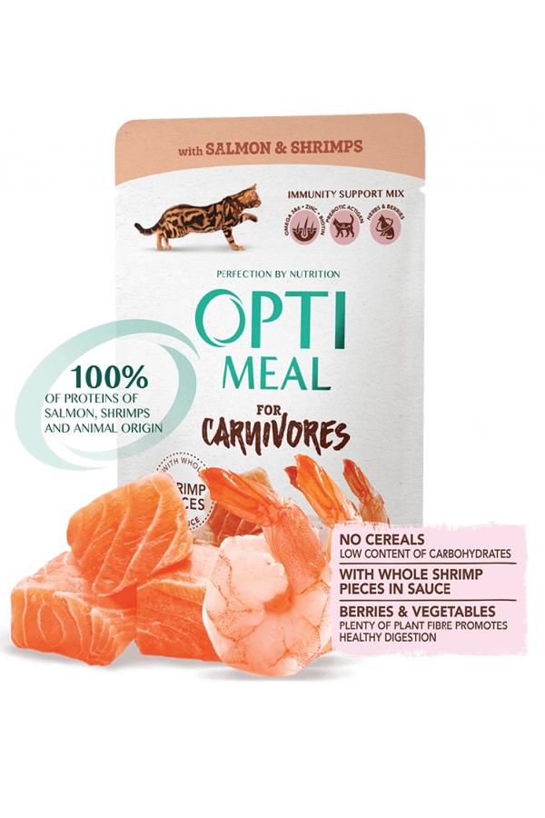 Optimeal For Carnivores z Łososiem i Krewetkami w Sosie Bezzbożowa 85 g