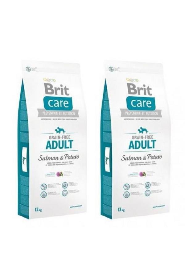 Pakiet Brit Care Grain Free Bezzbożowa Salmon&Potato z Łososiem 2x12 KG