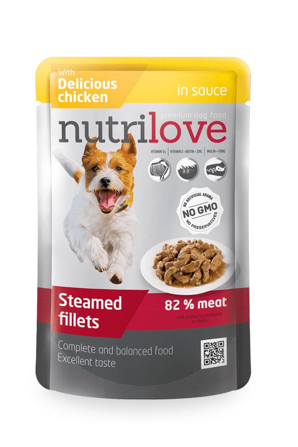 Nutrilove Soczyste Mięsne Kawałki Kurczaka w Sosie 85 g