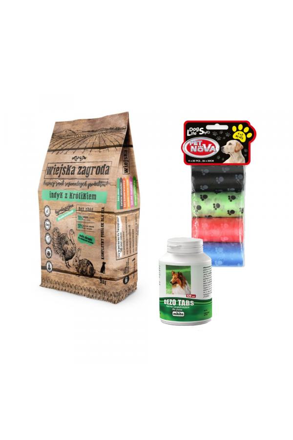 Pakiet Wiejska Zagroda Indyk z Królikiem 9 kg + 2 GRATISY-Dezo Tabs, Kolorowe Worki