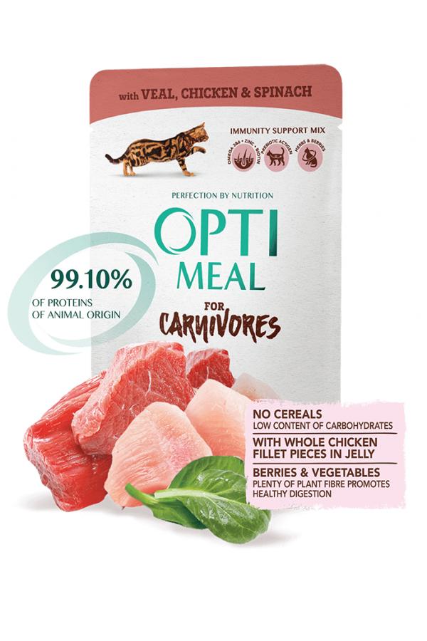 Optimeal For Carnivores z Cielęciną i Kurczakiem w Sosie Szpinakowym Bezzbożowa 85 g