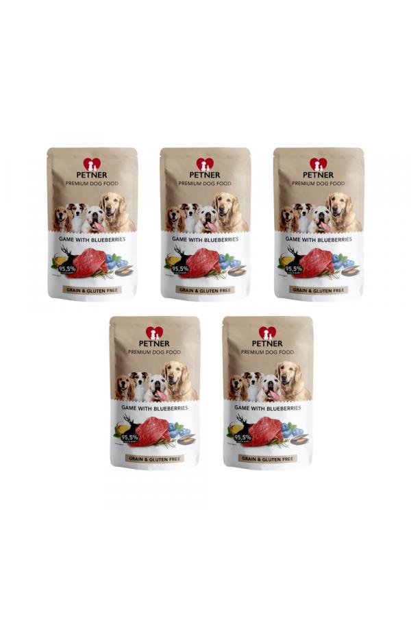 Pakiet PETNER Bezzbożowa Karma dla Dorosłych Psów z Dziczyzną i Borówką 5 x 500 G