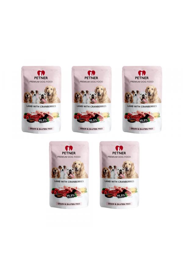 Pakiet PETNER Bezzbożowa Karma dla Dorosłych Psów z Jagnięciną i Żurawiną 5 x 500 G
