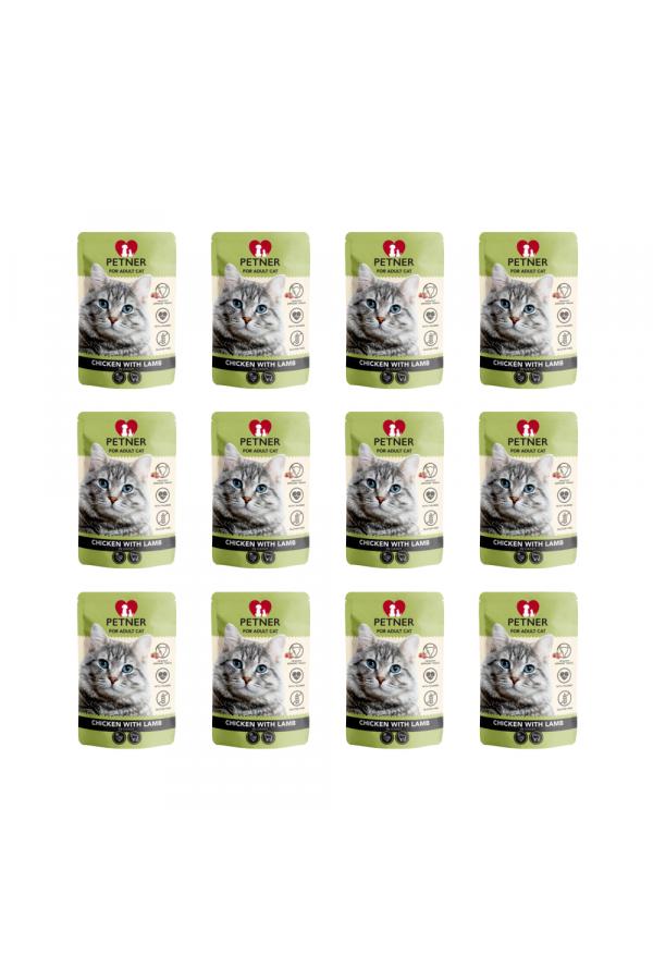 Pakiet PETNER Bezzbożowa Karma dla Dorosłych Kotów z Kurczakiem i Jagnięciną 12 x 85 G