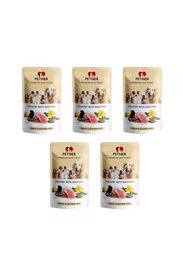 Pakiet PETNER Bezzbożowa Karma dla Dorosłych Psów z Drobiem i Cukinią 5 x 500 G