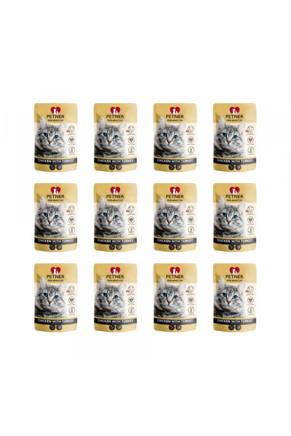 Pakiet PETNER Bezzbożowa Karma dla Dorosłych Kotów z Kurczakiem i Indykiem 12 x 85 G