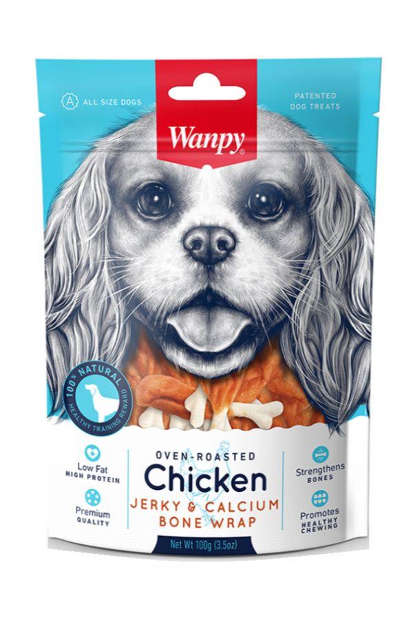 Wanpy Chicken Jerky & Calcium Bone Wrap Kostki z Kurczakiem 100 g