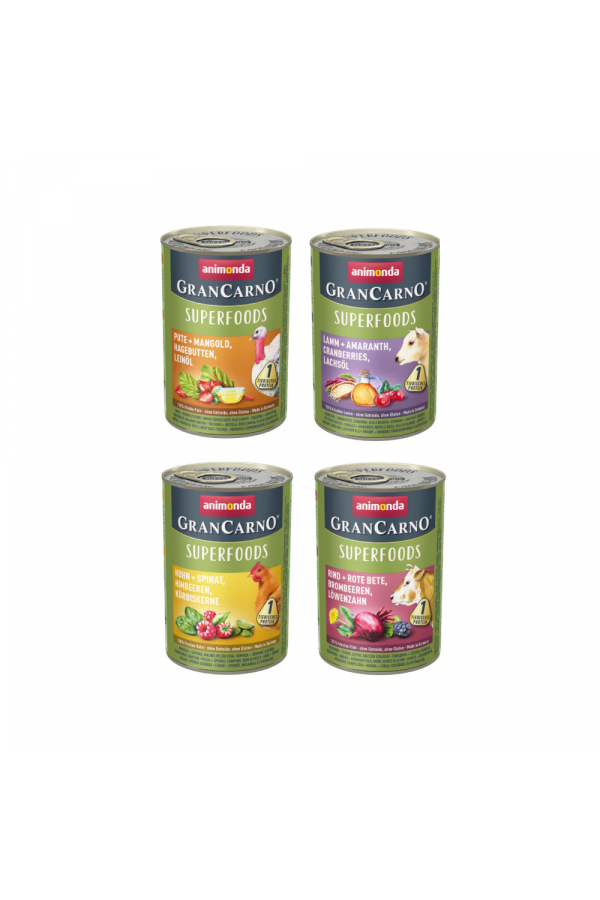 Pakiet Animonda GranCarno Superfoods Mokra Karma Dla Psów Mix Smaków 4 x 400 g