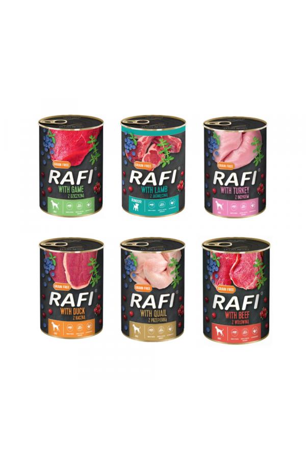 Pakiet Karma Dla Psa Rafi Mix Smaków 6 x 400 g