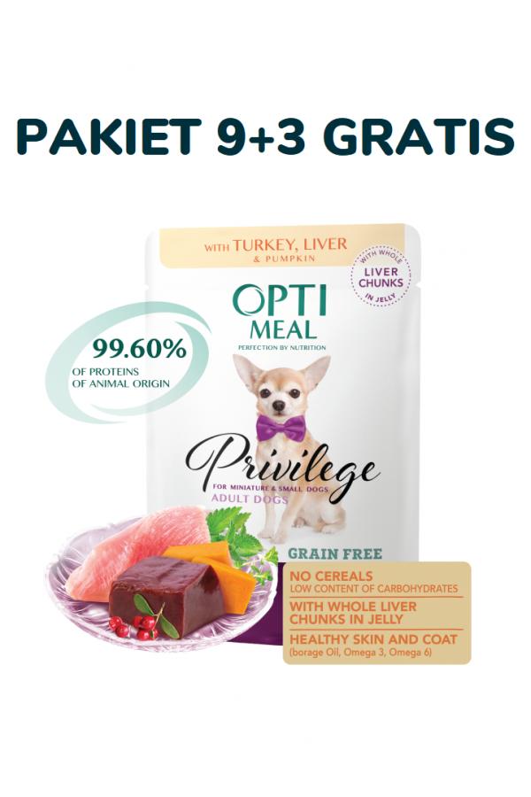 Optimeal pies małe rasy pakiet gf indyk/wątroba (9+3) 12x85g 61699