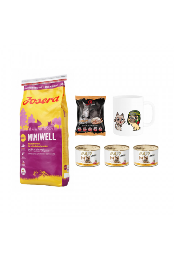 Pakiet Josera Miniwell Małe Rasy 15 kg + 5 GRATISÓW! Karma, Przysmak, Kubek z Twoim Pupilem