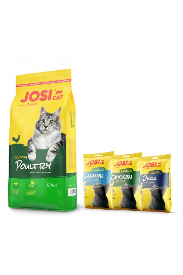 Josera Josicat Crunchy Poultry Drób 10 kg + 3 x JosiCat Snack GRATIS!
