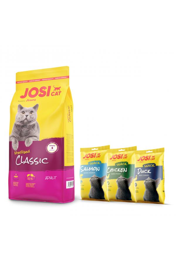 Josera Josicat Sterilised Classic Drób Łosoś 10 kg + 3 x JosiCat Snack GRATIS!