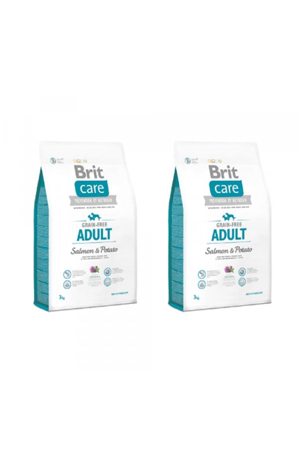 Pakiet Brit Care Grain-Free Bezzbożowa Salmon & Potato Łosoś Adult 2 x 3 kg