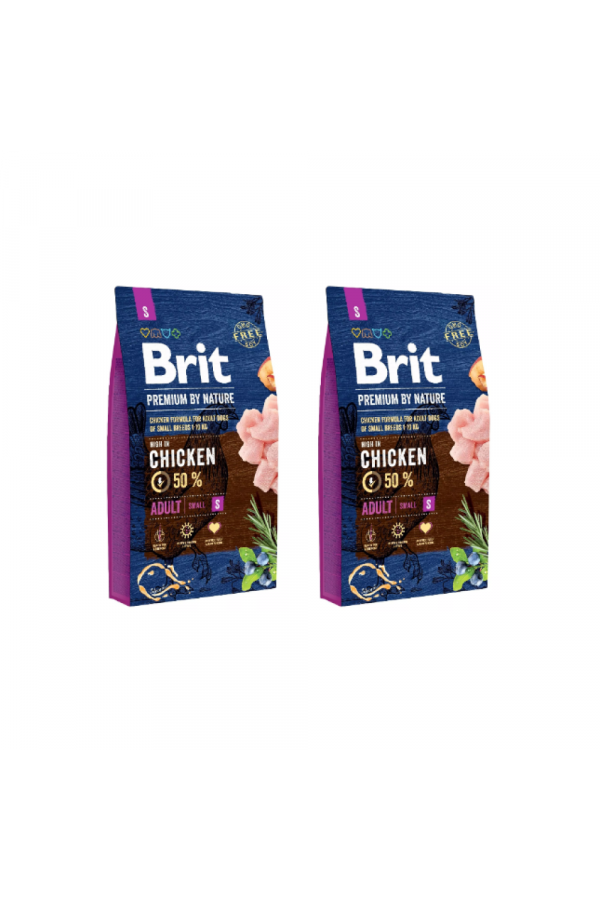 Pakiet Brit Premium By Nature Chicken Kurczak Adult S 2 x 8 kg