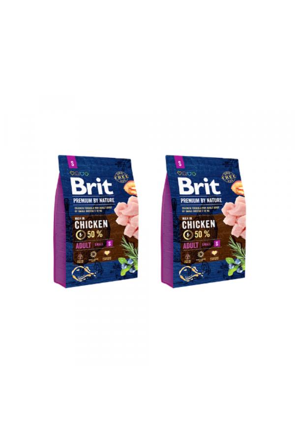 Pakiet Brit Premium By Nature Chicken Kurczak Adult S 2 x 3 kg