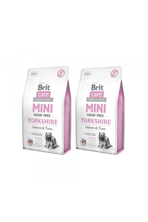 Pakiet Brit Care Mini Grain-Free Bezzbożowa Yorkshire Łosoś Tuńczyk 2 x 2 kg