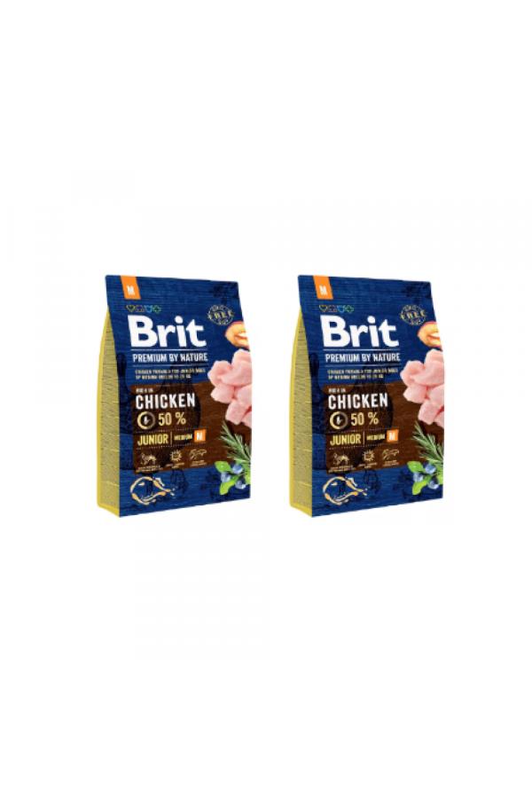 Pakiet Brit Premium By Nature Chicken Kurczak Junior M 2 x 3 kg