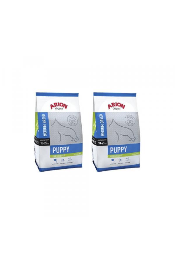 Pakiet Arion Original Chicken & Rice Medium Puppy 2 x 12 kg