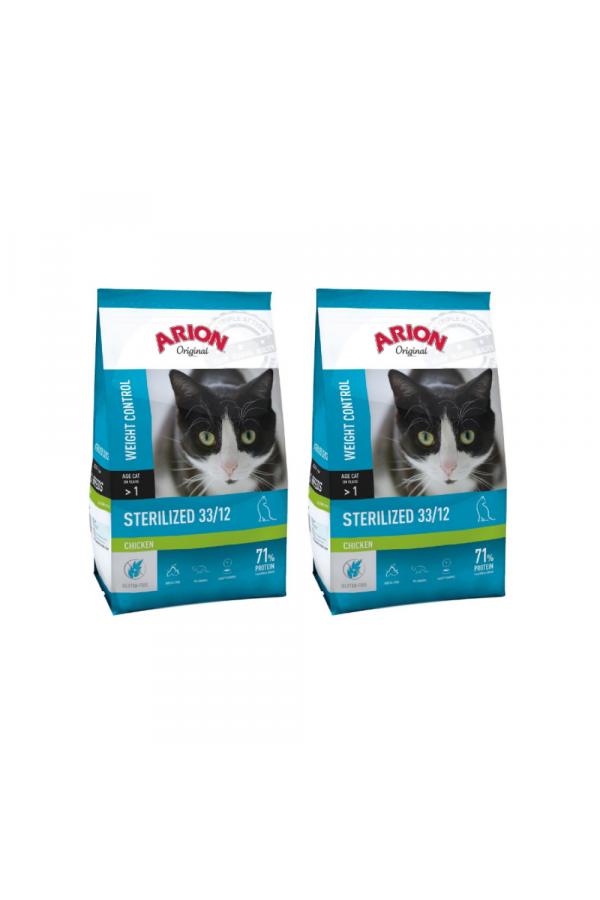 Pakiet Arion Original Cat Sterilised Chicken 2 x 2 kg