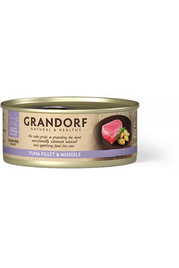 Grandorf Tuna Fillet & Mussels Karma Dla Kota Filet z Tuńczyka i Małże 70 g