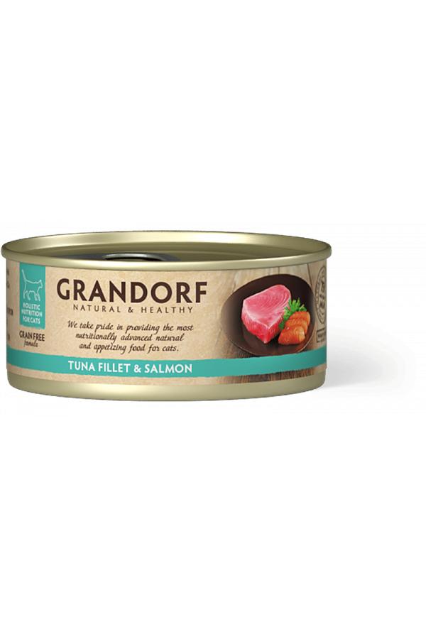 Grandorf Tuna Fillet & Salmon Karma Mokra Dla Kota Filet z Tuńczyka i Łososia 70 g
